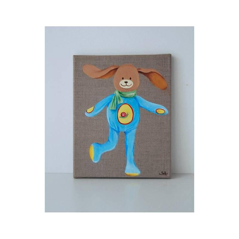 portrait doudou lapin bleu