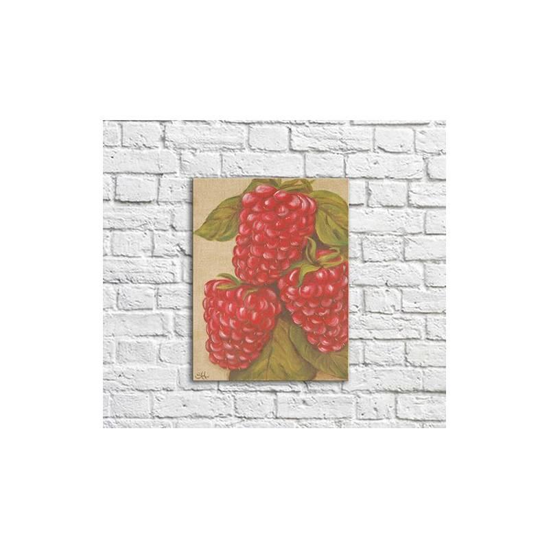 Tableau Illustration Fruits Rouges Framboises