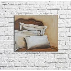 tableau oreillers sur un lit